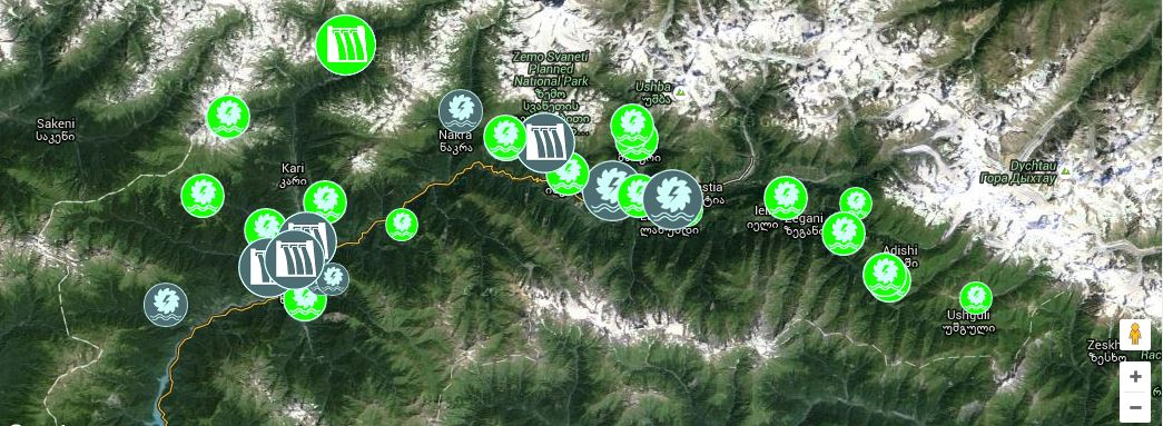 Interactive map of planned hydropower installations in Upper Svaneti