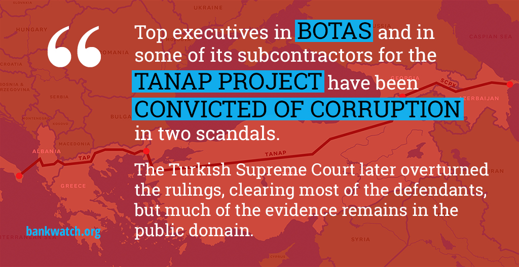 Image with quote: Two #corruption scandals at #Turkey's Botas & subsidiaries.