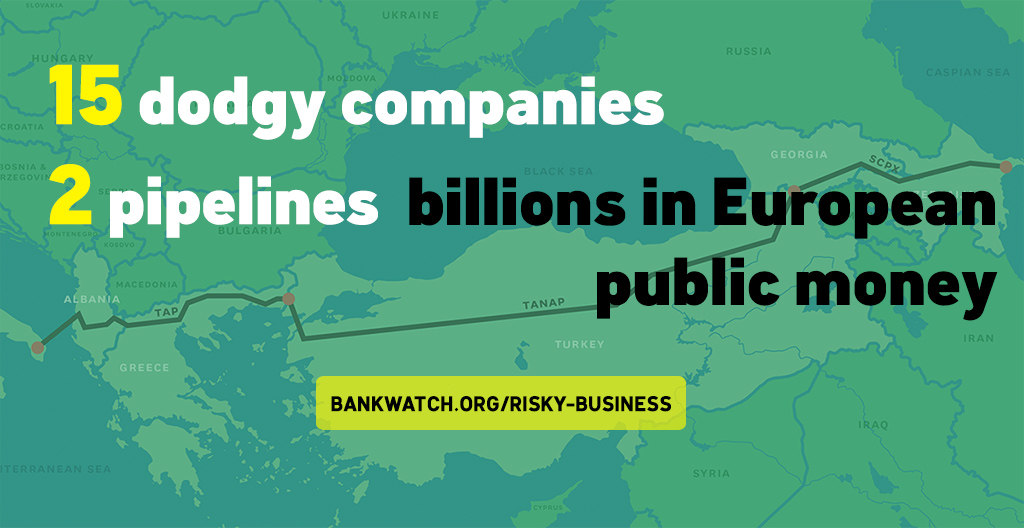 Image with text: 15 dodgy companies, 2 pipelines, billions in European public money'