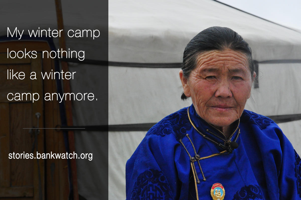 "A Mongolian woman looking into the camera. An overlaid quote says: ""My winter camp looks nothing like a winter camp anymore."""