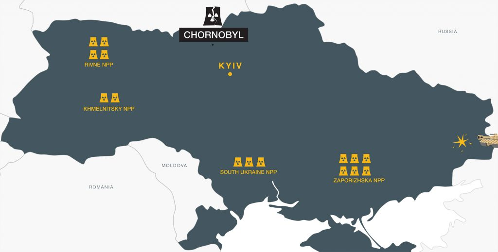A map of Ukraine with the locations and sizes of nucelar power plants indicated.