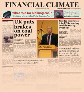 A newspaper cover with articles that all speak about coal divestment.