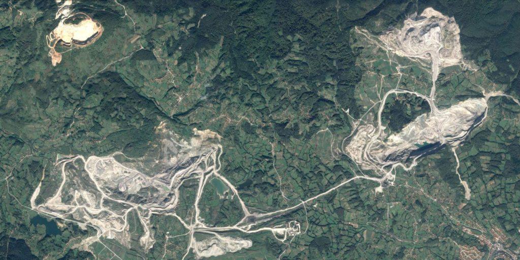 A satellite image of a coal mine.