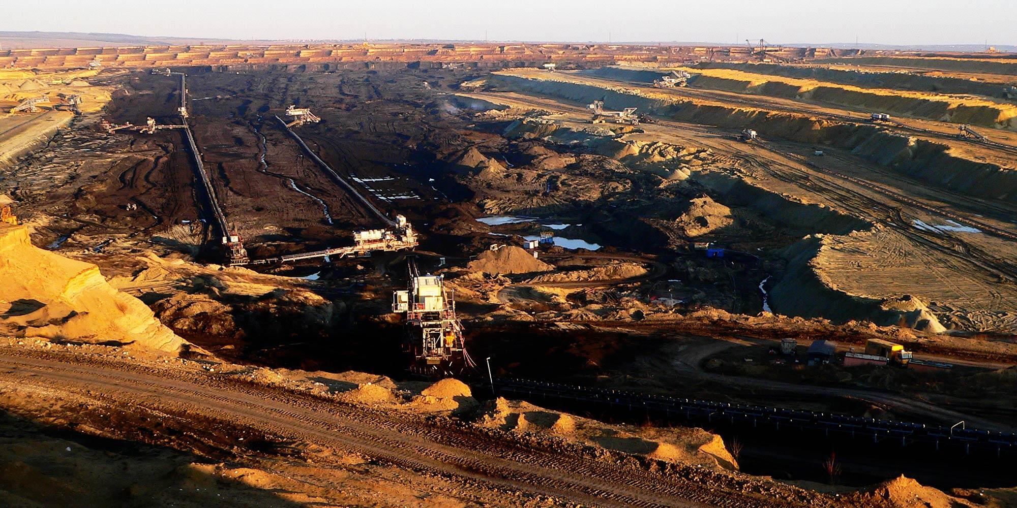 An open mining pit seen.