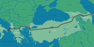 A stylised map of south-east Europe and the Caucasus that shows the route of the Southern Gas Corridor.