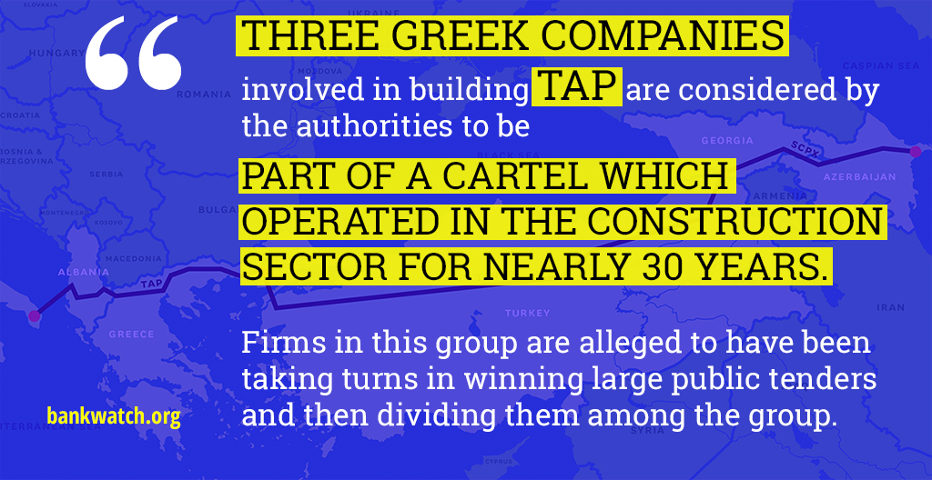 Image with quote: 'Three Greek companies involved in TAP are considered to be part of a cartel.'