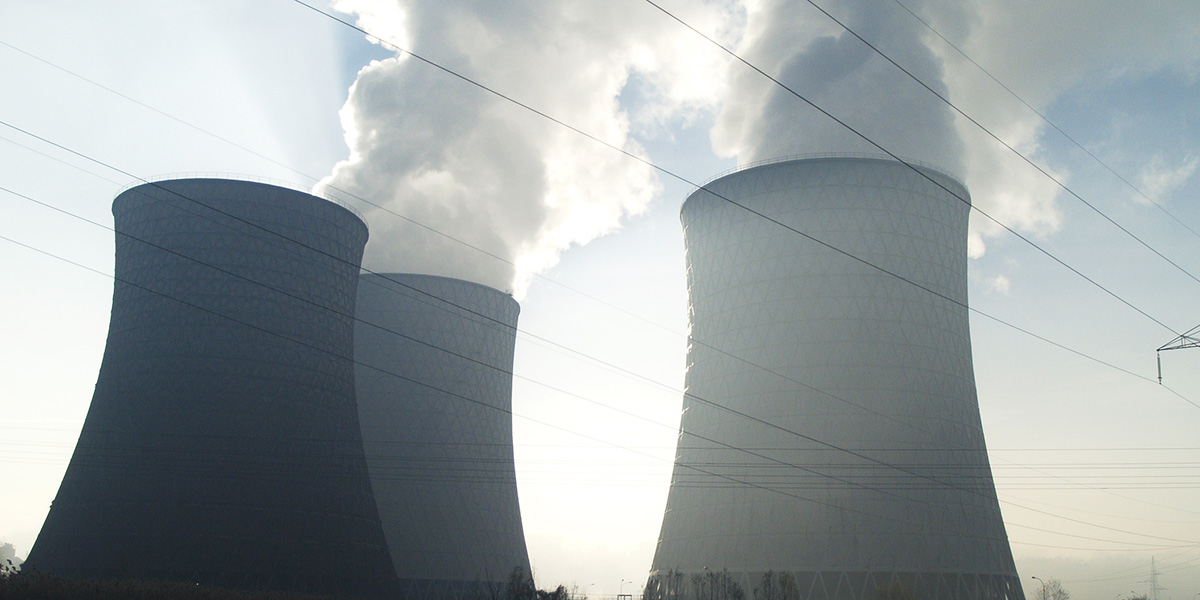 Three cooling towers from the Tuzla lignite power plant.