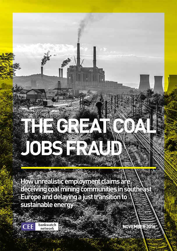 "Cover of the study ""The great coal jobs fraud"". Image shows train tracks leading to a coal power plant in the distance."