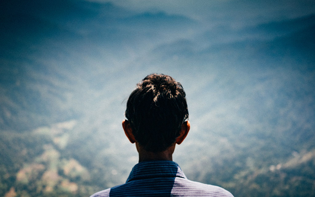 A person seen from behind looking over a valley.