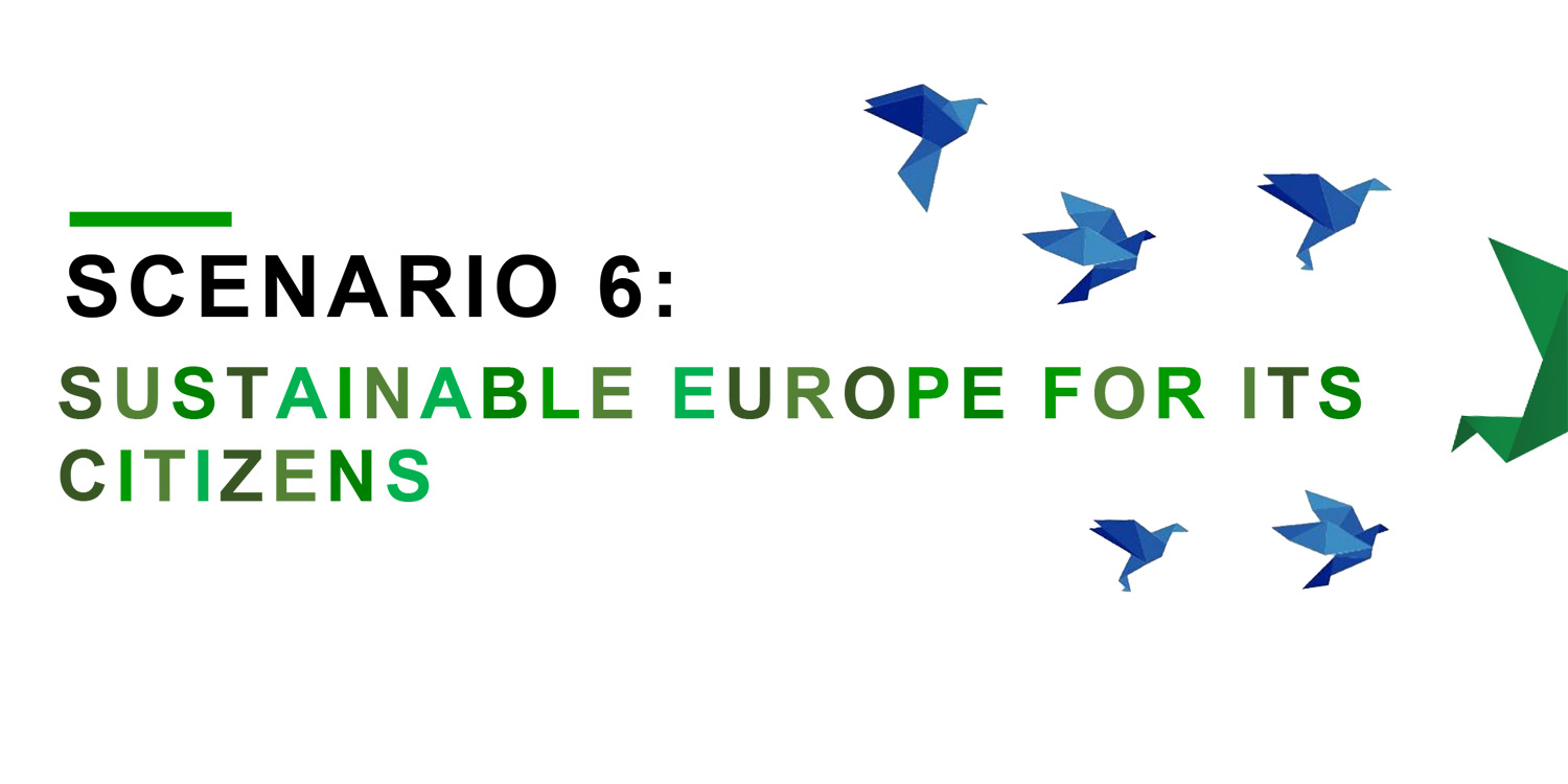 Publication cover reading 'Scenario 6: A sustainable Europe for its citizens' and showing six origami pidgeons.