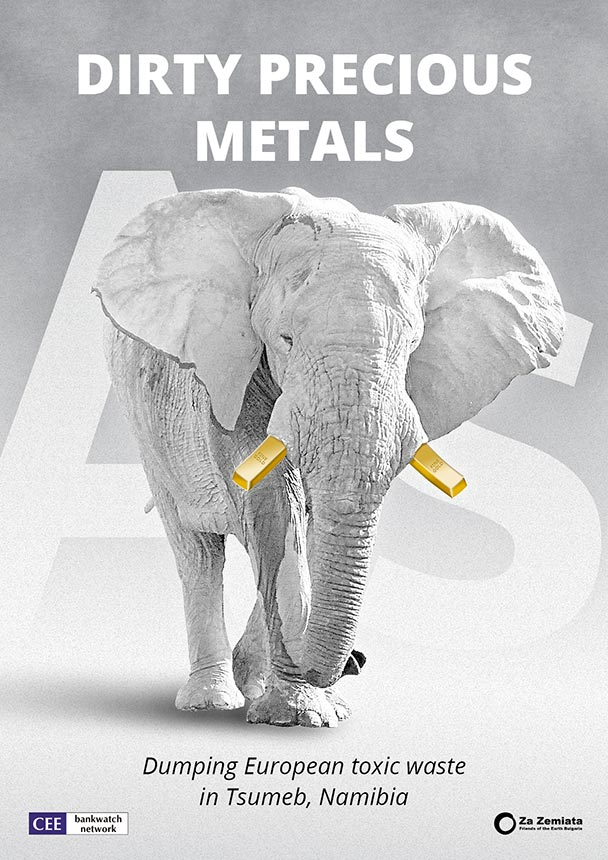 Cover of the report Dirty Precious Metals, showing an elephant with golden tusks.