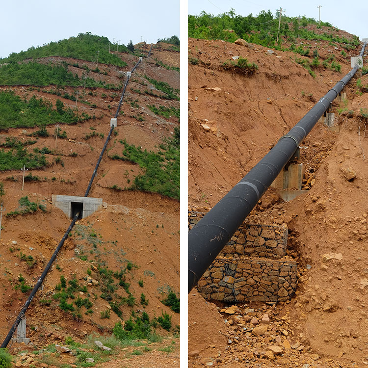Two images of a hill with a water pipe of the Ternove hydropower project. They show how the construction is completely inadequate to avoid landslides.