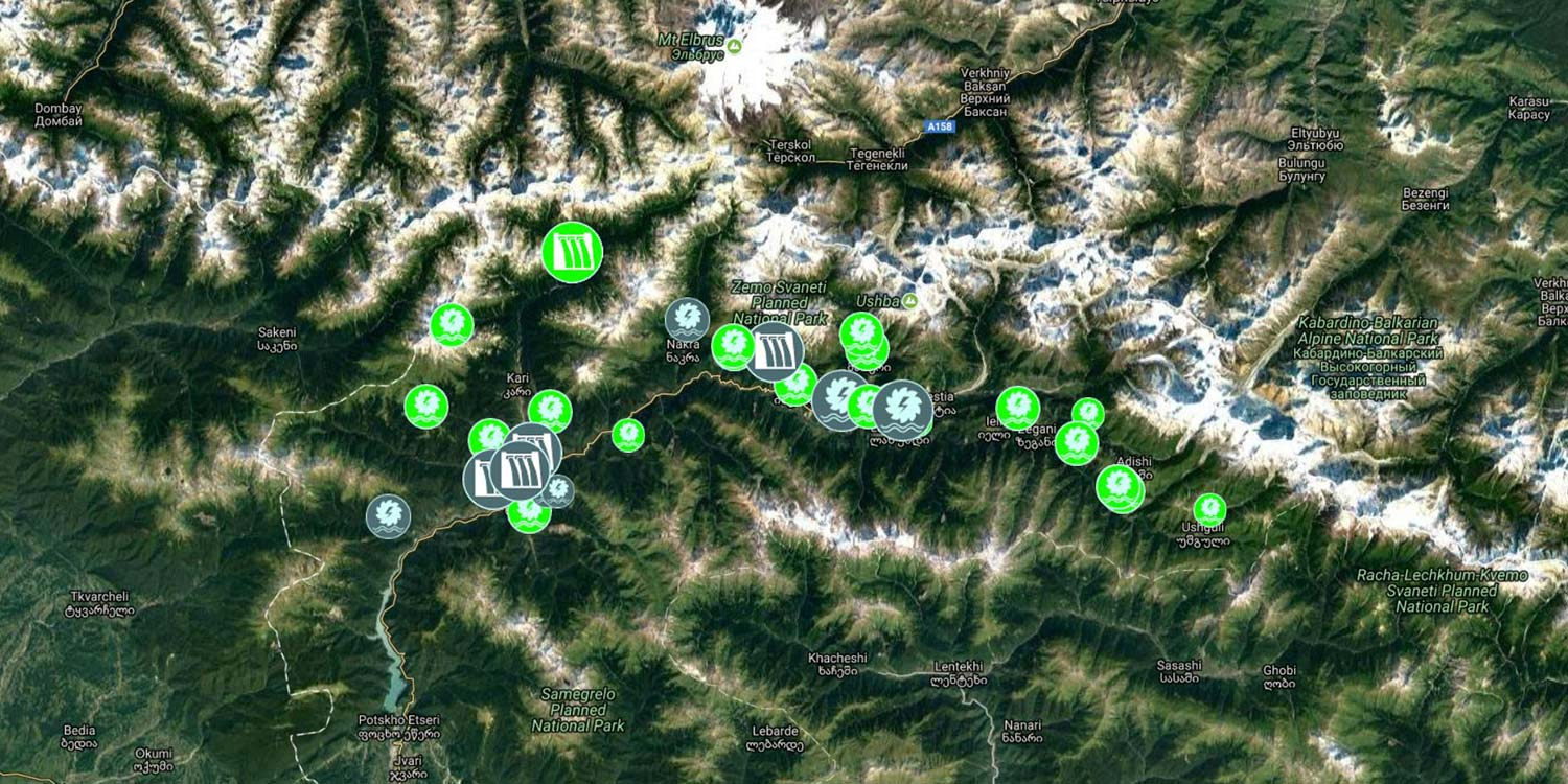 Screenshot of an interactive map of planned hydropower installations in Upper Svaneti