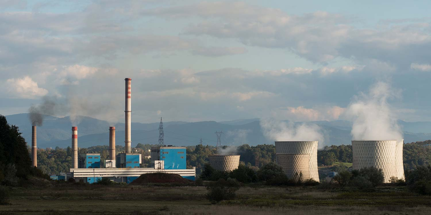 A panorama view of the Tuzla lignite power plant in Bosnia-Herzegovina.