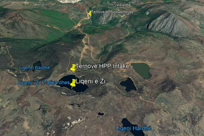 A map showing a system of lakes that is used both for hydropower and irrigation purposes.