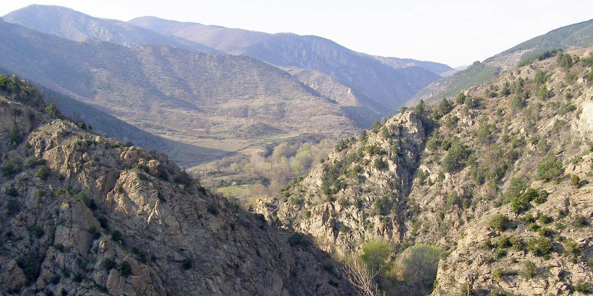 Panorama picture in the Kresna gorge in Bulgaria.