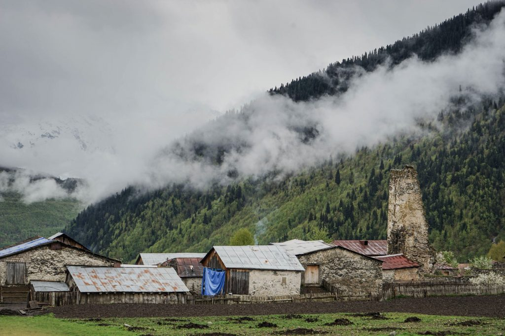 A panorama of Mazeri in Upper Svaneti, Georgia