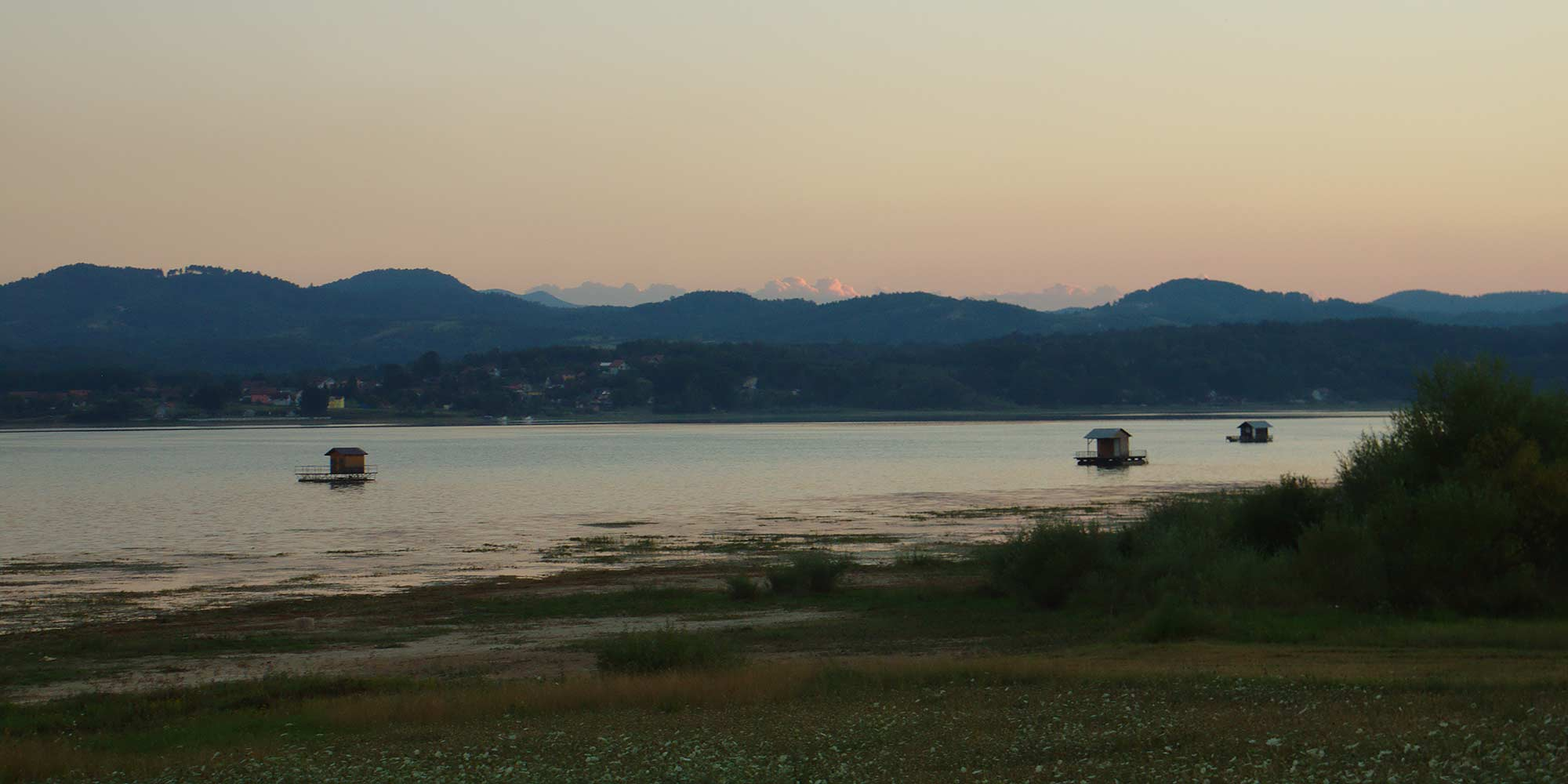 An evening view on Lake Modrac in Bosnia and Herzegovina