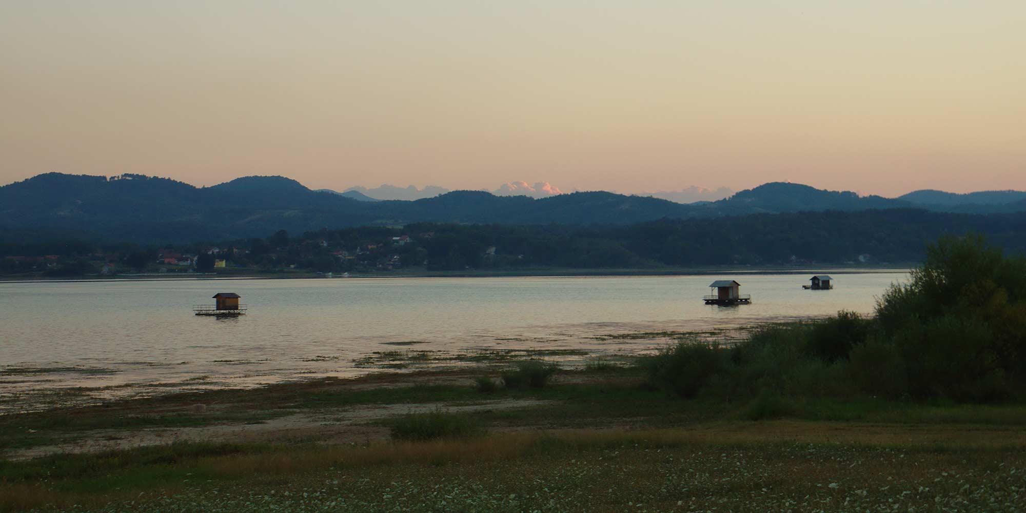 An evening view on Lake Modrac in Bosnia and Herzegovina