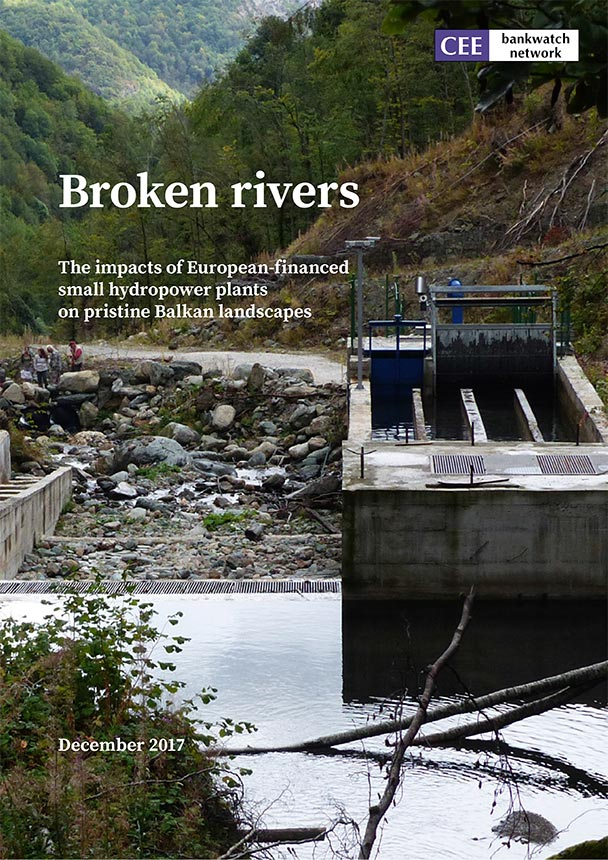 A study cover showing a small hydropower installation. title of the study: Broken rivers.